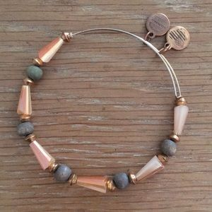Alex and Ani beaded bangle with wood & gold beads